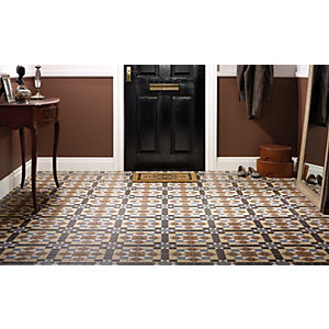 Wickes Dorset Marron Patterned Ceramic Wall & Floor Tile - 316 x 316mm