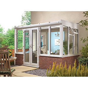 Wickes Lean To Dwarf Wall White Conservatory - 13 x 12 ft