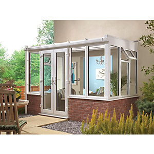 Wickes Lean To Dwarf Wall White Conservatory - 8 x 8 ft