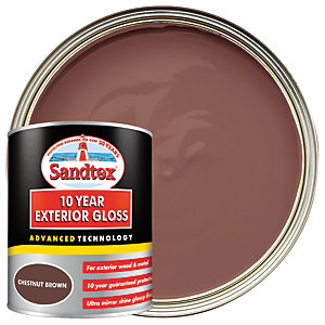 Sandtex 10 Year Exterior Gloss Paint - Chestnut Brown 750ml