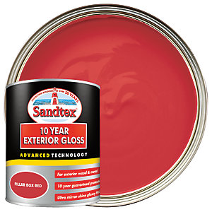 Sandtex 10 Year Exterior Gloss Paint - Pillar Box Red 750ml