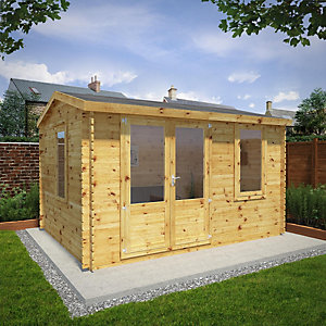 Mercia 4m x 3m 34mm Log Thickness Single Glazed Home Office