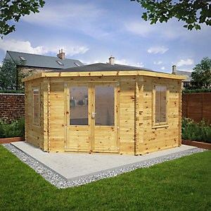 Mercia 4m x 4m 28mm Log Thickness Corner Log Cabin
