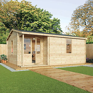 Mercia 6m x 4m 44mm Log Thickness Double Glazed Home Office