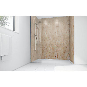 Mermaid Brushed Nickel Laminate 2 Sided Shower Panel Kit