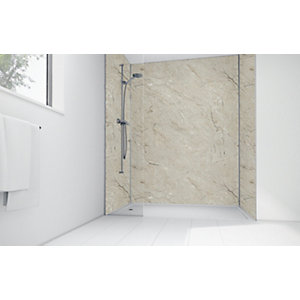 Mermaid Grey Calacatta Laminate 2 Sided Shower Panel Kit
