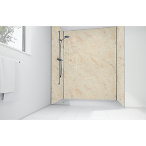 Mermaid Natural Calacatta Laminate 2 Sided Shower Panel Kit