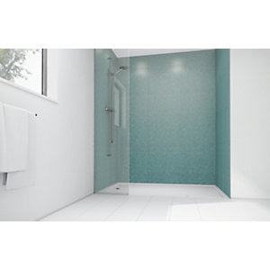 Mermaid Peppermint Frost Gloss Laminate 2 Sided Shower Panel Kit
