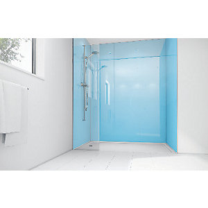 Mermaid Sky Blue Acrylic 2 Sided Shower Panel Kit