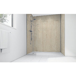 Mermaid Travertine Matt Laminate 3 sided Shower Panel Kit