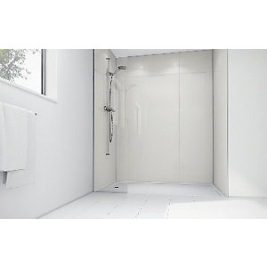 Mermaid White Gloss Laminate 2 Sided Shower Panel Kit