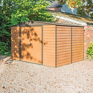 Rowlinson Woodvale 10 x 8ft Large Double Door Metal Apex Shed without Floor