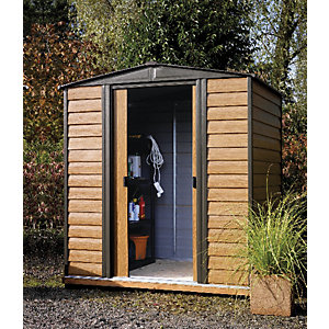 Rowlinson Woodvale 6 x 5ft Double Door Metal Apex Shed including Floor