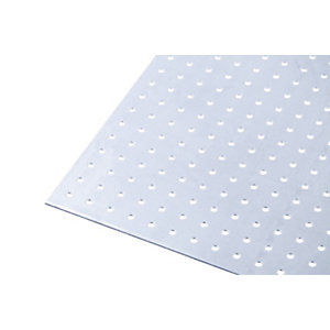 Wickes Metal Sheet Perforated Round Hole 4.5mm Galvanised Steel 250 x 500mm