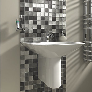 Wickes Black & Silver Leaf Glass Mosaic Tile - 300 x 300mm