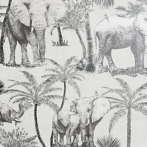 Artistick Elephant Grove Charcoal Self Adhesive Wallpaper - 6m x 53cm