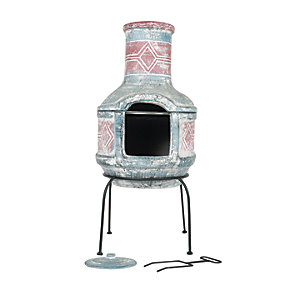La Hacienda Outdoor Blue & Red Geometirc Chimena
