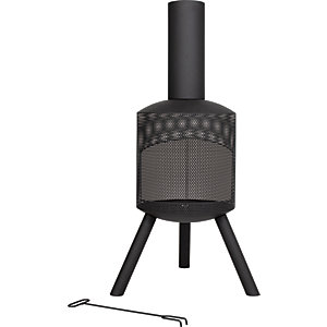 La Hacienda Santana 45in Outdoor Chimenea Black