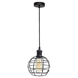 4lite WiZ Smart Blackened Silver Pendant with Bird Cage Shade and ST64 E27 Vintage Lamp