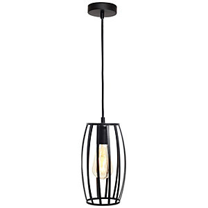 4lite WiZ Smart Blackened Silver Pendant with Pear Shape Cage Shade and ST64 E27 Vintage Lamp