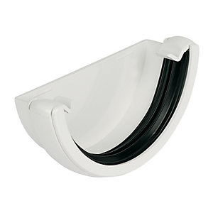 FloPlast 112mm Round Line Gutter External Stop End - White