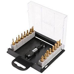 Wickes Titanium 17 Piece Screwdriver Bit and Holder Set