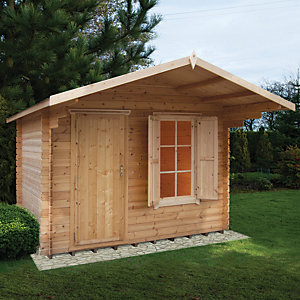Shire 10 x 10 ft Hopton Security Log Cabin with Shuttered Window
