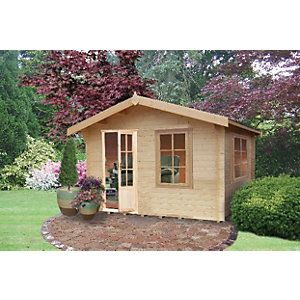 Shire 10 x 8 ft Bucknells Log Cabin with Overhang