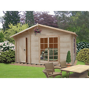 Shire 14 x 10 ft Bourne Double Door Log Cabin with Storage Room