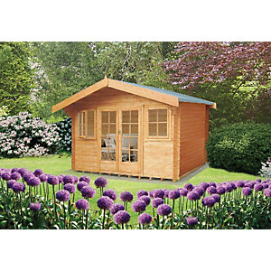 Shire 14 x 14 ft Large Clipstone Double Door Log Cabin with Opening Windows