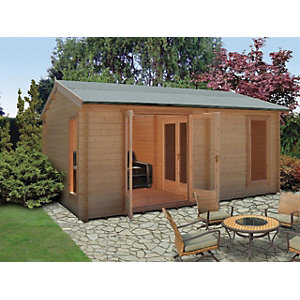 Shire 14 x 16 ft Firestone 3 Room Double Door Log Cabin