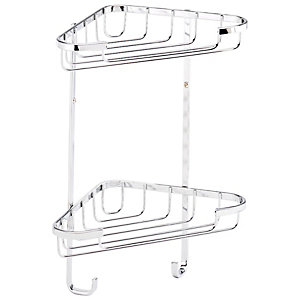 Croydex Rust Free Small Two Tier Corner Shower Basket - Chrome 230mm