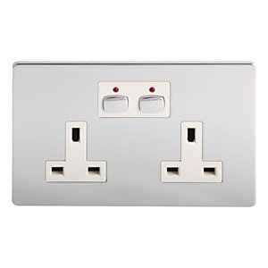 Energenie Mihome Radio Controlled Smart Double Socket - Chrome