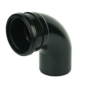 FloPlast SP161B Soil Pipe 92.5 Deg Bend Socket/Spigot - Black 110mm