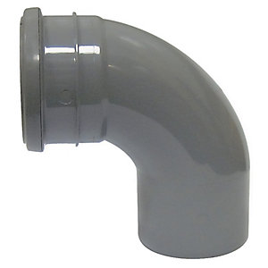 FloPlast SP161G Soil Pipe 92.5 Deg Bend Socket/Spigot - Grey 110mm