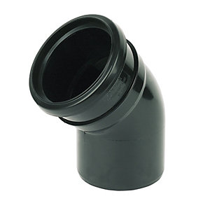 FloPlast SP163B Soil Pipe 135 Deg Bend Socket/Spigot - Black 110mm