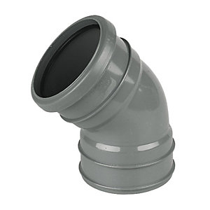 FloPlast SP440G Soil Pipe 135 Deg Offset Bend Socket/Solvent Socket - Grey 110mm