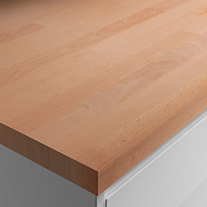 Wickes Solid Wood Worktop - Solid Beech 600mm x 28mm x 3m