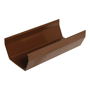 FloPlast 114mm Square Line Gutter - Brown 2m
