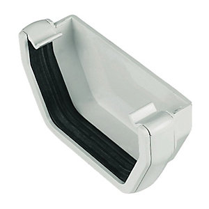 FloPlast 114mm Square Line Gutter External Stopend - White