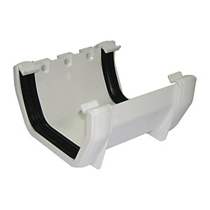 FloPlast 114mm Square Line Gutter Union Bracket - White