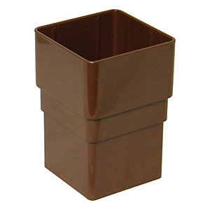 FloPlast 65mm Square Line Downpipe Pipe Socket - Brown