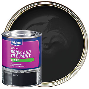 Wickes Brick & Tile Paint Gloss Black 750ml