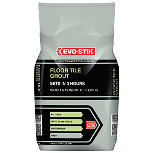 Evo-Stik Floor Tile Grout Fast Set for Wood and Concrete Floors Grey 5kg