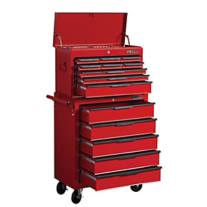 Hilka Heavy Duty 14 Drawer Tool Chest and Cabinet Combination Set - Red