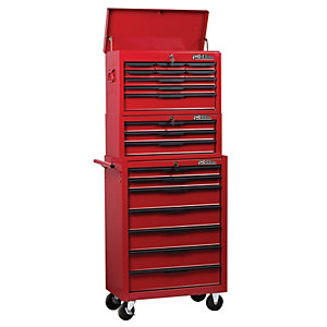 Hilka Heavy Duty 19 Drawer Mobile Combination Unit - Red