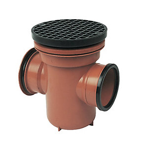FloPlast 110mm Back Inlet Bottle Gully Circular Lid - Terracotta