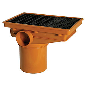 FloPlast 110mm Rectangular Drain Inlet Hopper - Terracotta