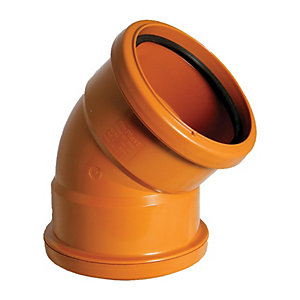 FloPlast 110mm Underground Drainage Bend Double Socket 45° - Terracotta