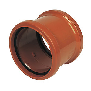 FloPlast 110mm Underground Drainage Double Socket Coupling - Terracotta